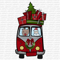 Santa & reindeer van with presents