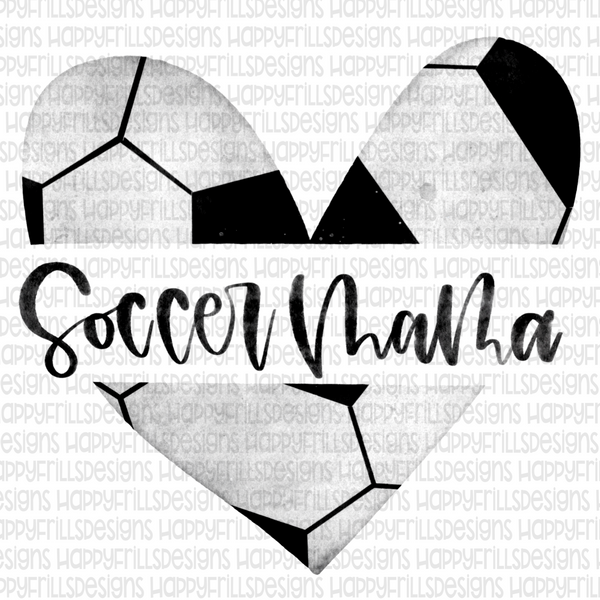 Watercolor heart soccer mama