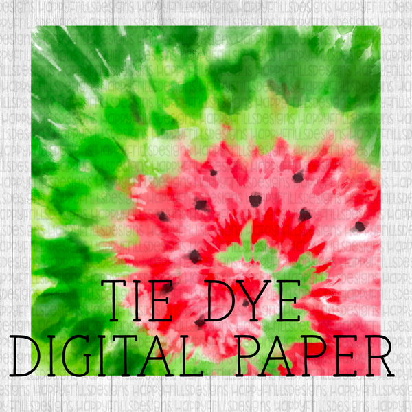 Watermelon Tie-dye Digital Paper