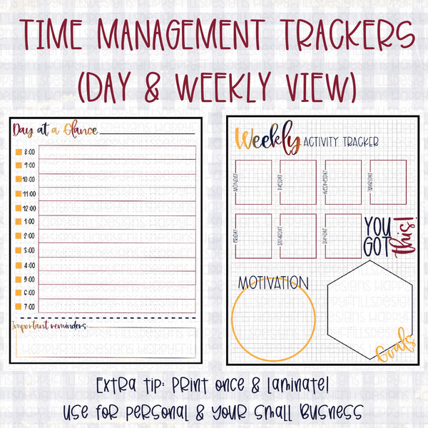 Time management planner printable PDF