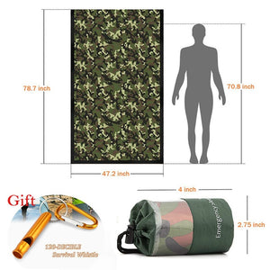 Emergency Bivy Sack, Survival Sleeping Bag Emergency Blanket Hiking,Camping with Portable Drawstring Bag + Whistle + Carabiner