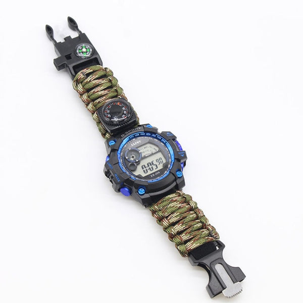 Outdoor Survive Watch Emergency with Night Vision 50M Waterproof Paracord Knife Compass Thermometer Whistles First Aid Kits Hot