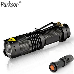 Waterproof Flash light Zoomable Self Defense no tazer shock Mini Penlight