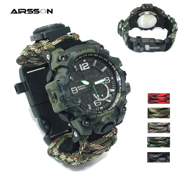 Outdoor Survival Watch - Multi-functional Compass Thermometer for Camping Hiking
