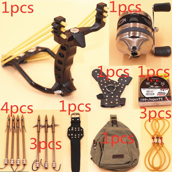 Stainless steel slingshot shooting fish fishing dart hunting fishing sling shot catapult outdoor equipment