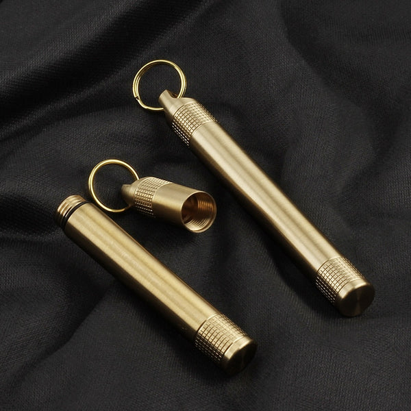 Brass Seal Bottles Waterproof Canister Keychain/ Medicine Toothpick Bottle Outdoor Camping Tool