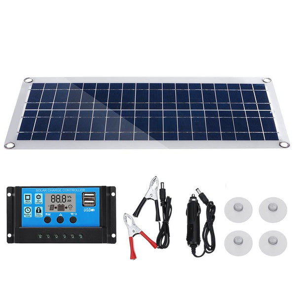 50W Solar Panel 5V/18V Dual USB with Car Charger + 10/20/30/40A USB Solar Charger Controller for Outdoor Camping LED Light