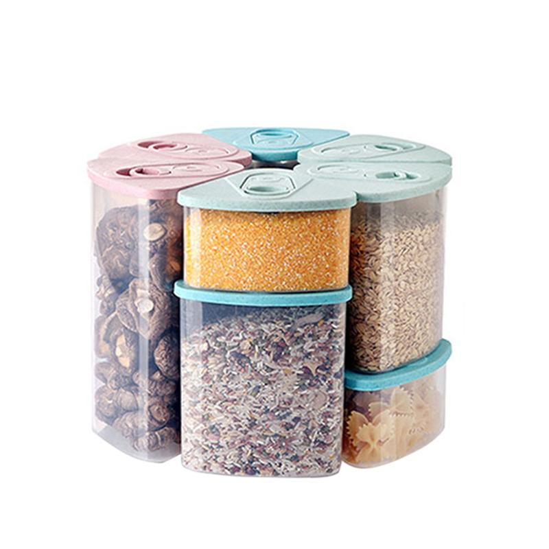 Wheat Straw Sealed Canister Plastic Food Storage Container With Lid
