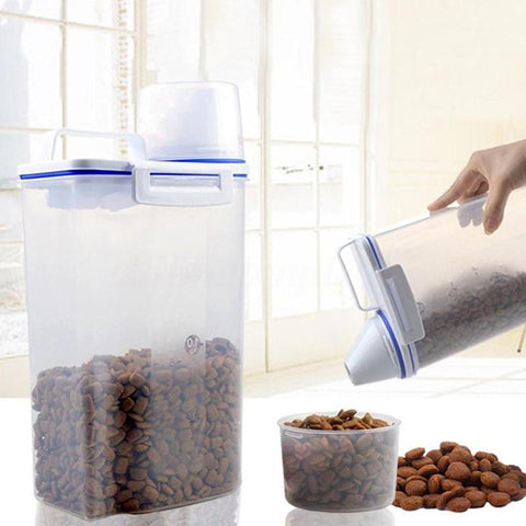 1 piece Airtight  Pet Food Storage Box Container with a Measuring Cup Clear