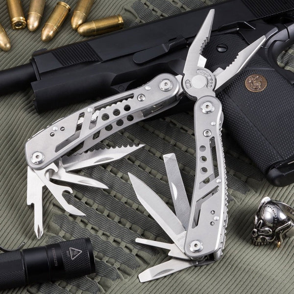 Multi-tool kit for outdoor camping equipment