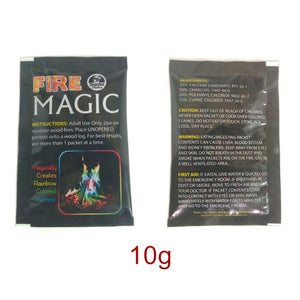 Magic Fire Colorful Flames Powder Bonfire Sachets Pyrotechnics Magic Trick Outdoor Camping Hiking Survival Tools