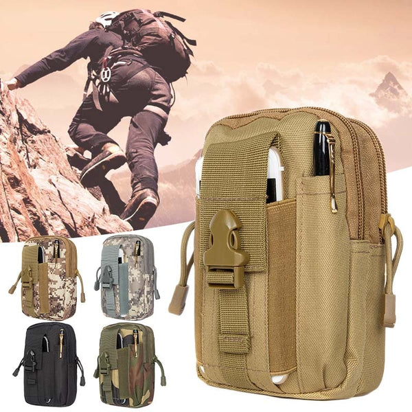 Men Tactical Molle Pouch Belt Waist Pack Bag Small Pocket Military Waist Pack Running Pouch Travel Camping Bags Outdoor Tool