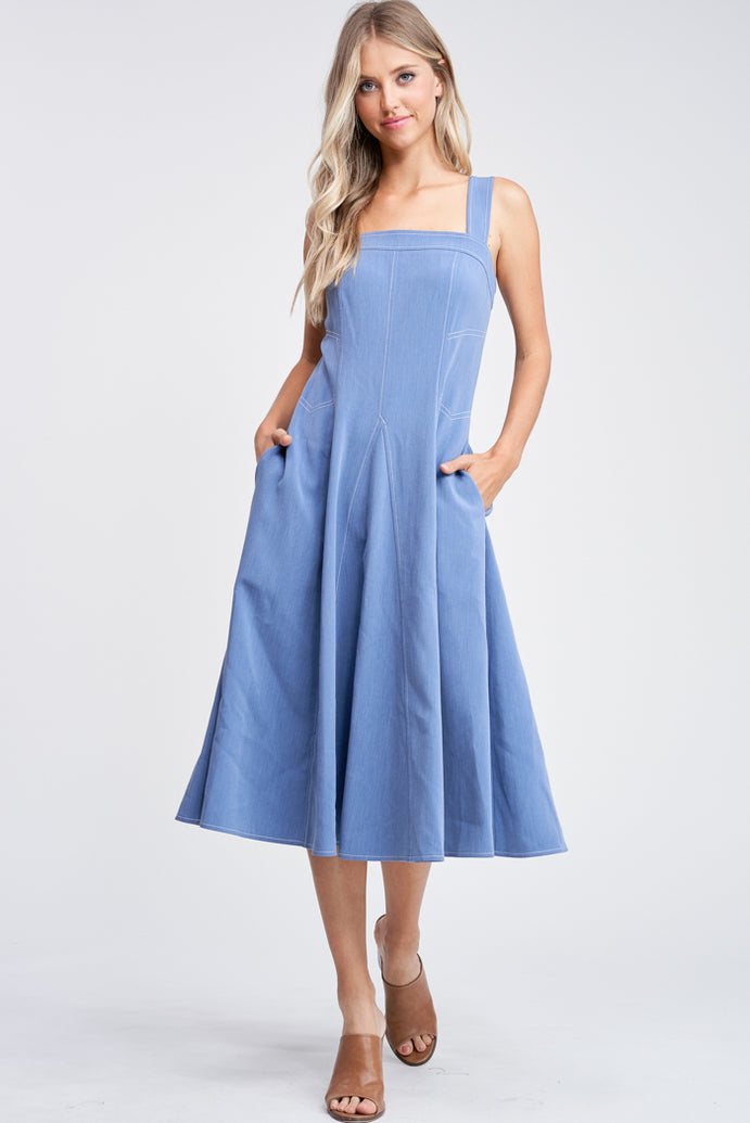 CONTRAST STITCH SLVLESS WOVEN MIDI DRESS