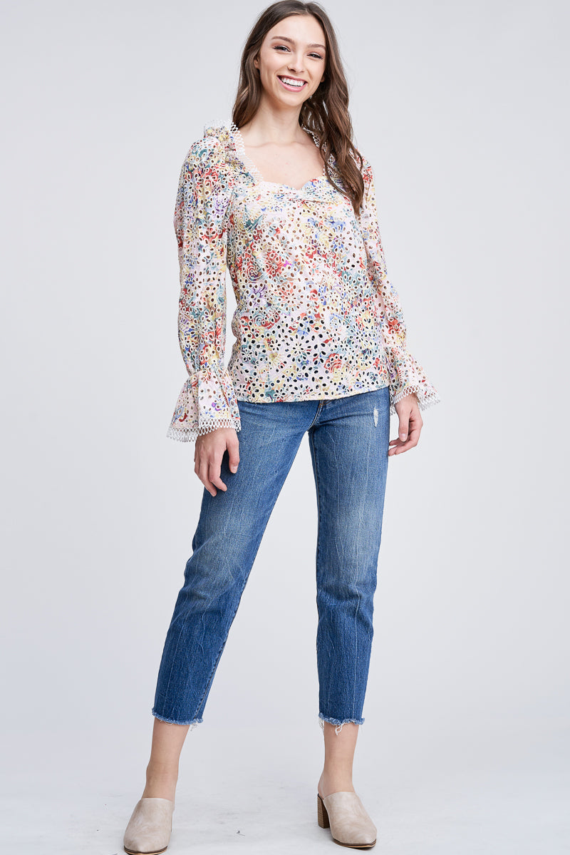 EYELET BLOUSE WITH RUFFLED SLEEVES