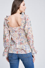 Load image into Gallery viewer, EYELET BLOUSE WITH RUFFLED SLEEVES