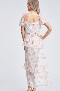 BRIGITTE RUFFLED GINGHAM PRINT DRESS