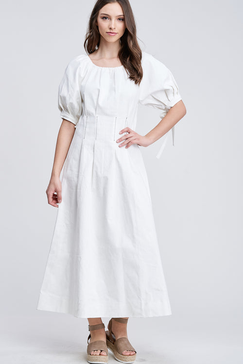 DENIM MAXI DRESS WITH PUFFED SLEEVES