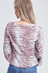 TIGER PRINT LONG SLEEVE BLOUSE