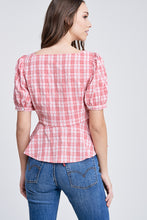 Load image into Gallery viewer, PLAID SQUARE NECK TOP