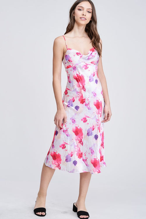 TIE DYE SATIN SLIP DRESS