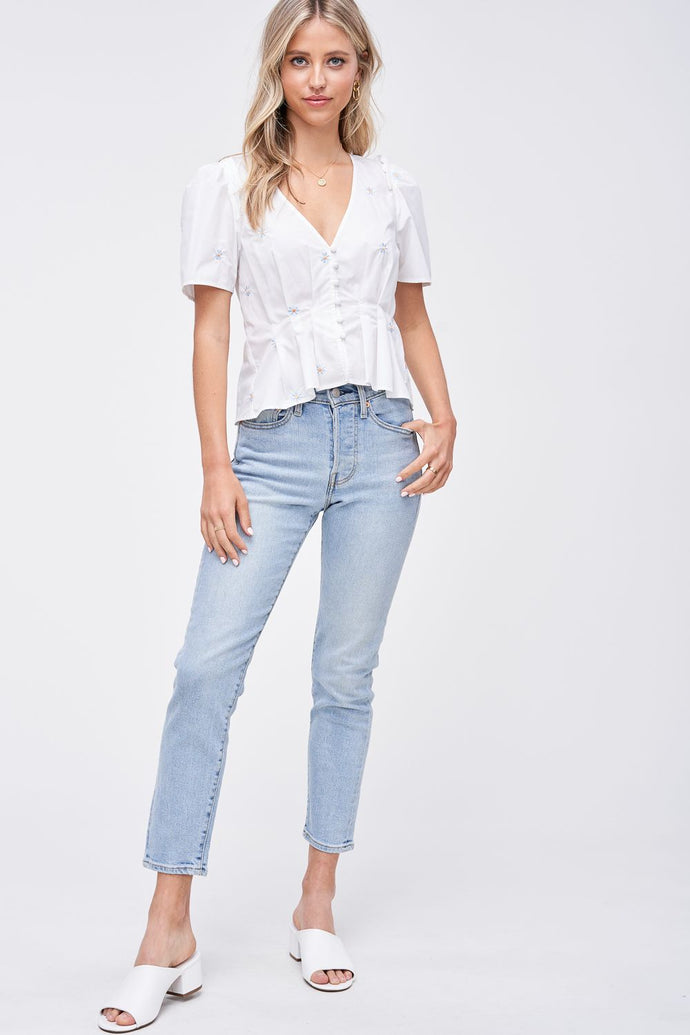 DAISY EMBROIDERED POPLIN BLOUSE