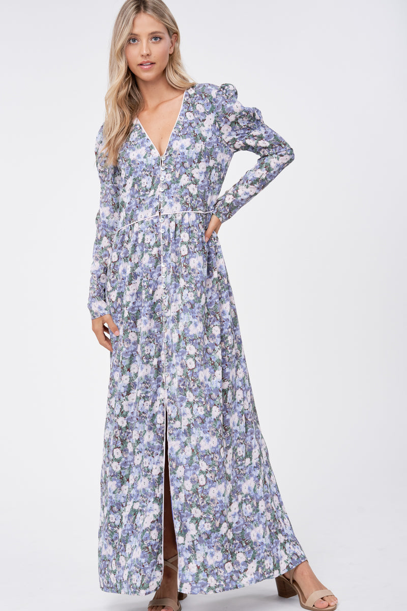 EVERYLY FLORAL BUTTON DOWN DRESS