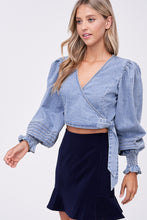 Load image into Gallery viewer, AMARI DENIM WRAP TOP