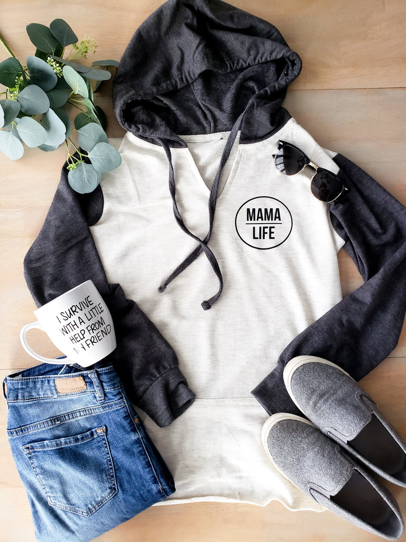 Mama Life Charcoal and Oatmeal French Terry Pull Over