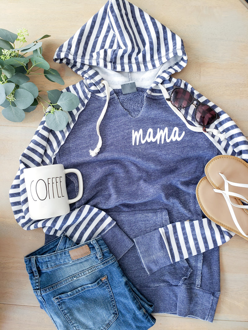 Blue and White Striped Fleece Hoodie