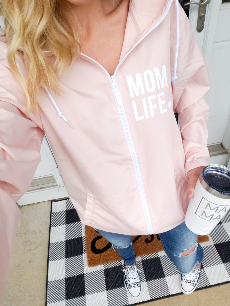 Blush Mom Life Water Resistant Lightweight Windbreaker