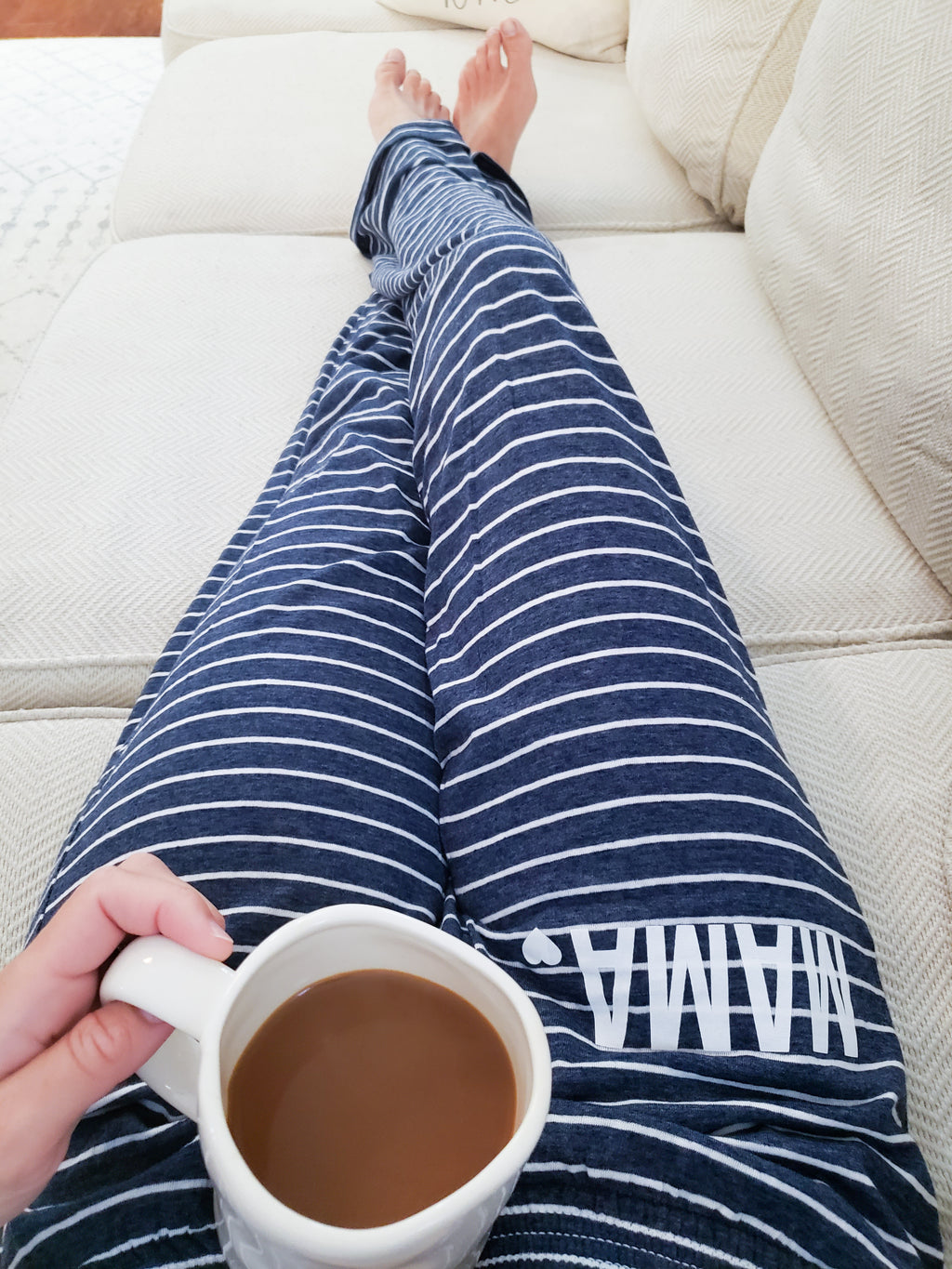 MAMA🤍 Navy And White Stripe Lounge Pants