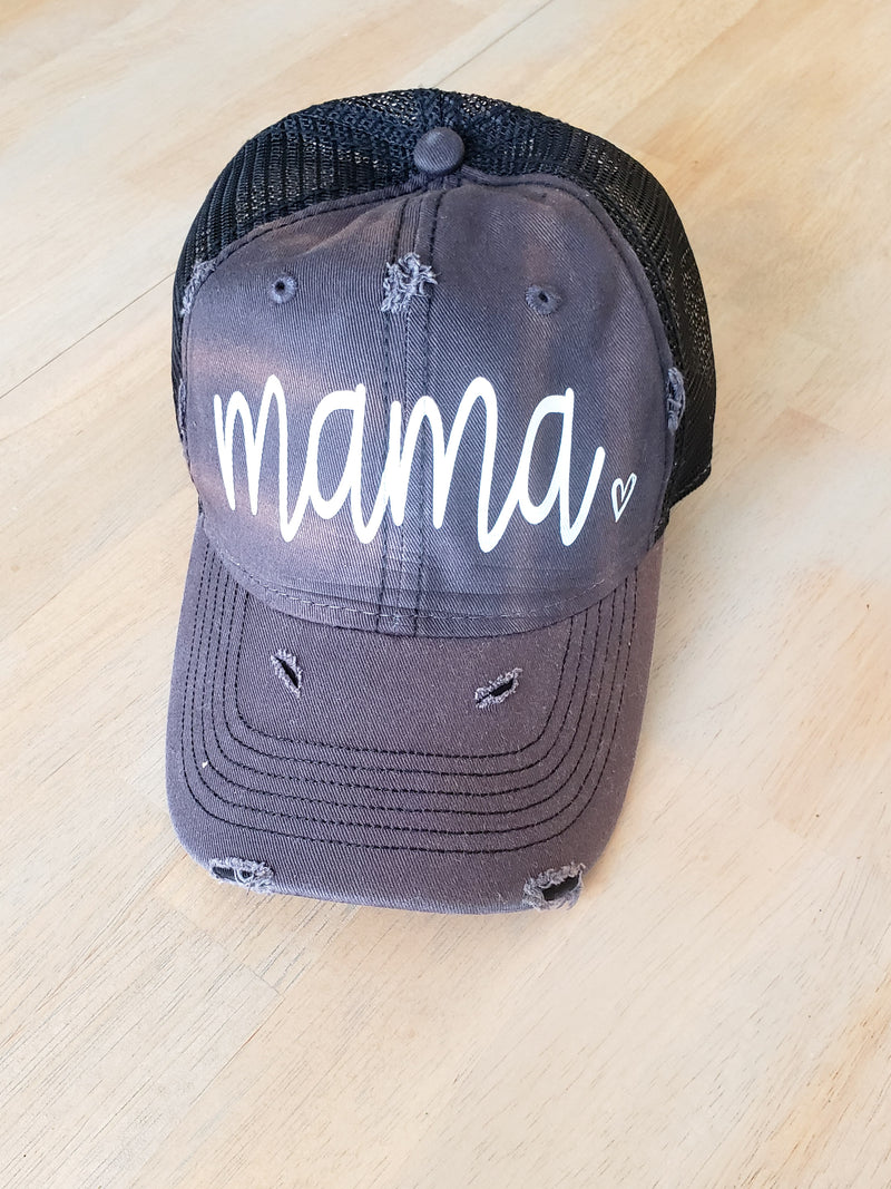 Mama 🖤 Charcoal Distressed Vintage Trucker Hat