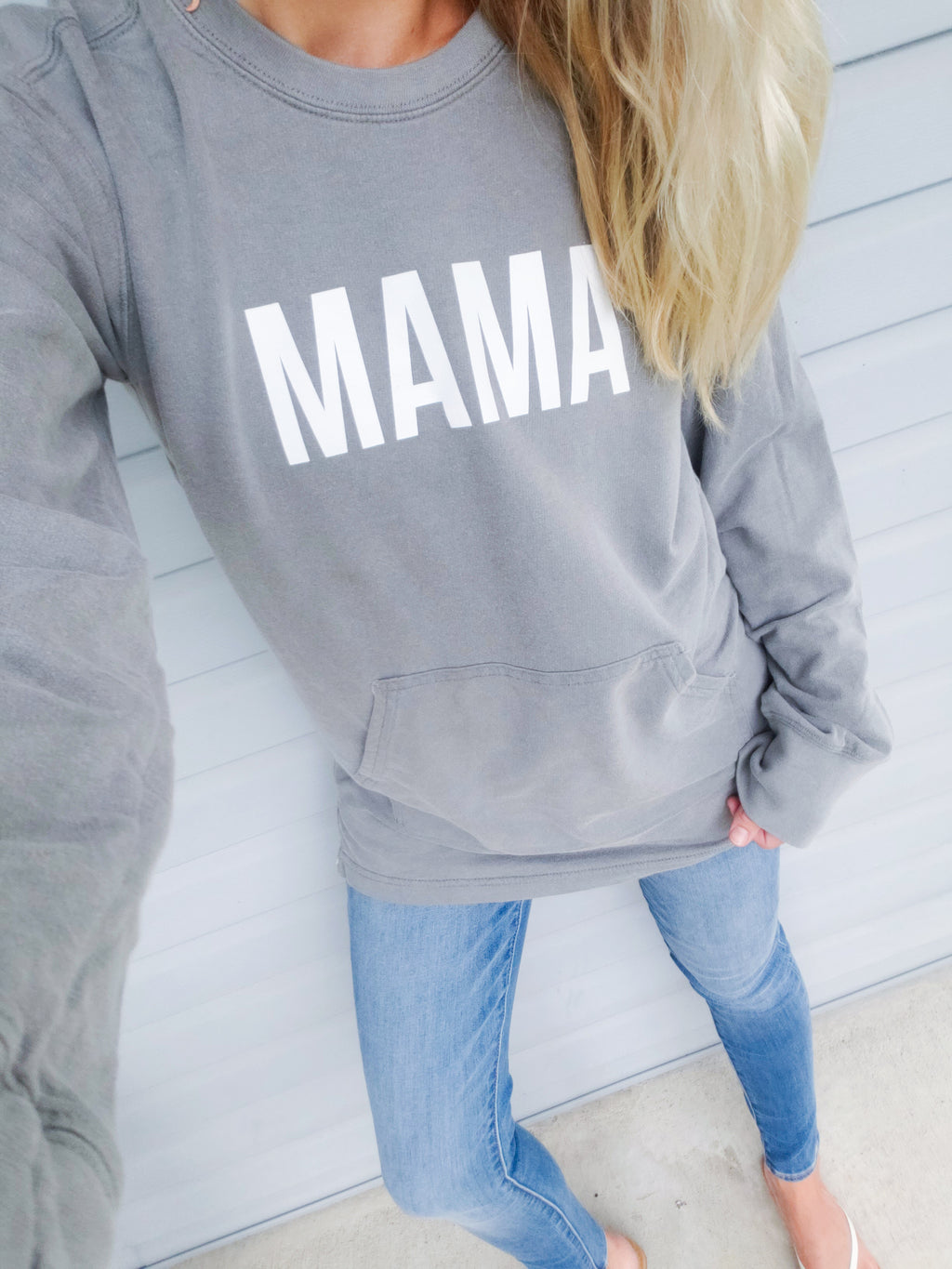 Grey  Mama french Terry Pullover