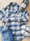 Blue and Grey MAMA Women's Flannel