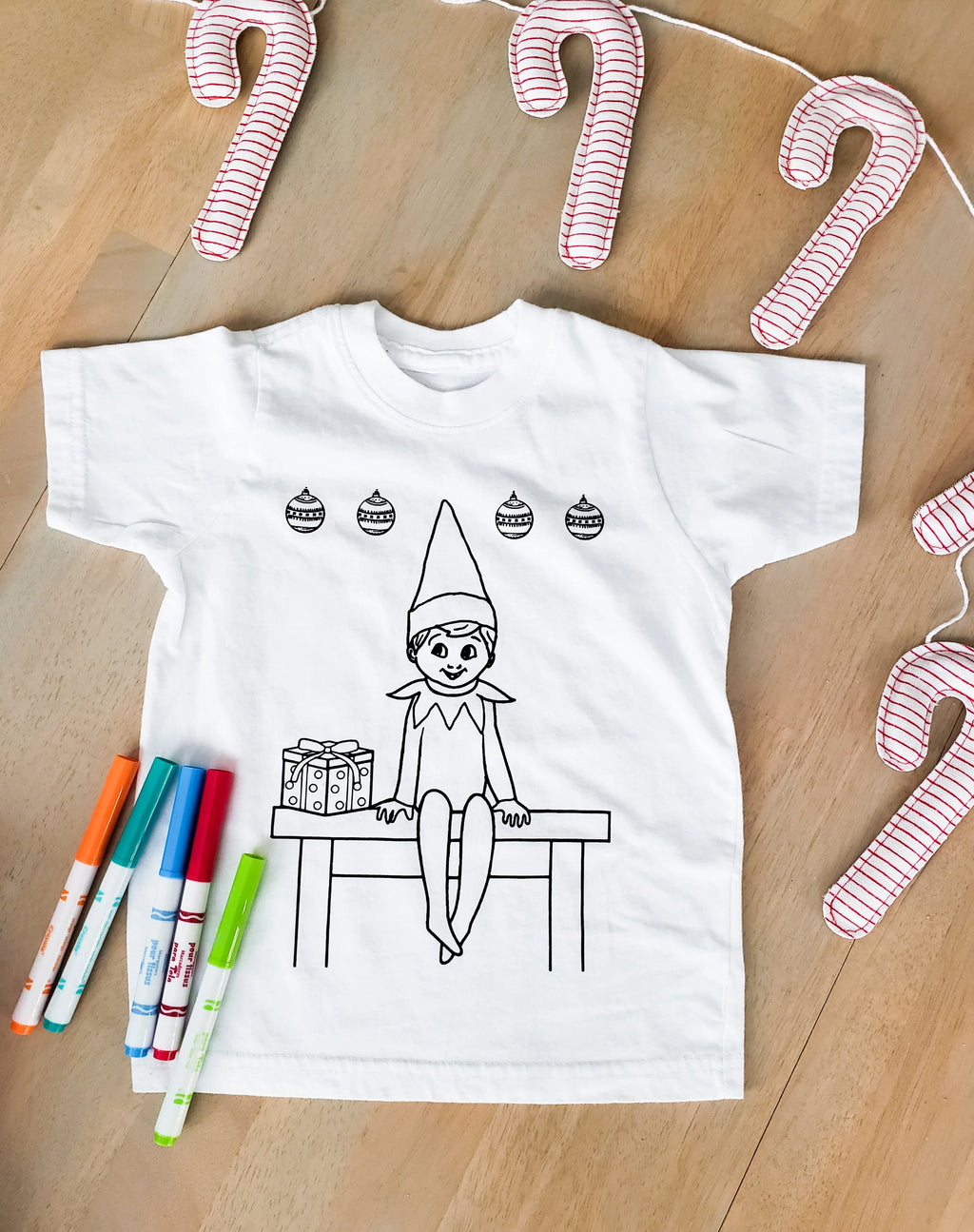 Elf Coloring Shirt with Fabric Markers