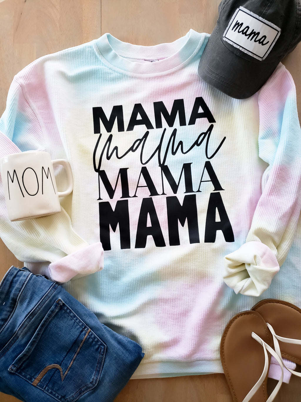 Mama Repeat Tie Dye Corded Crew Sweatshirt