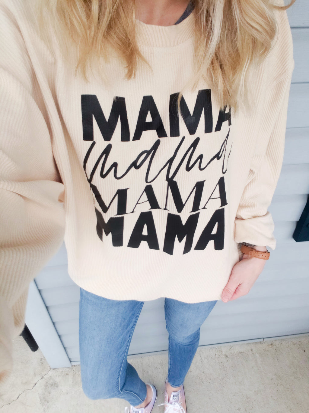 Mama Repeat Oatmeal Corded Crew