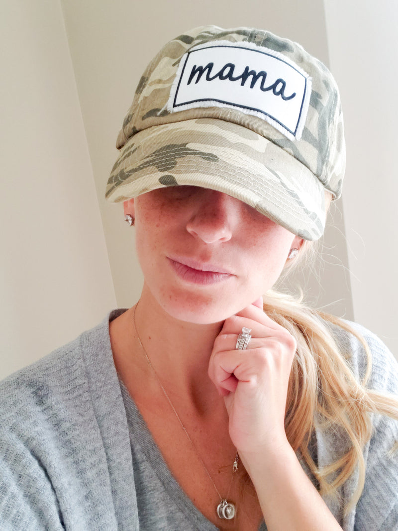 Mama Patch Camo Hat • One Size Adjustable Hat -