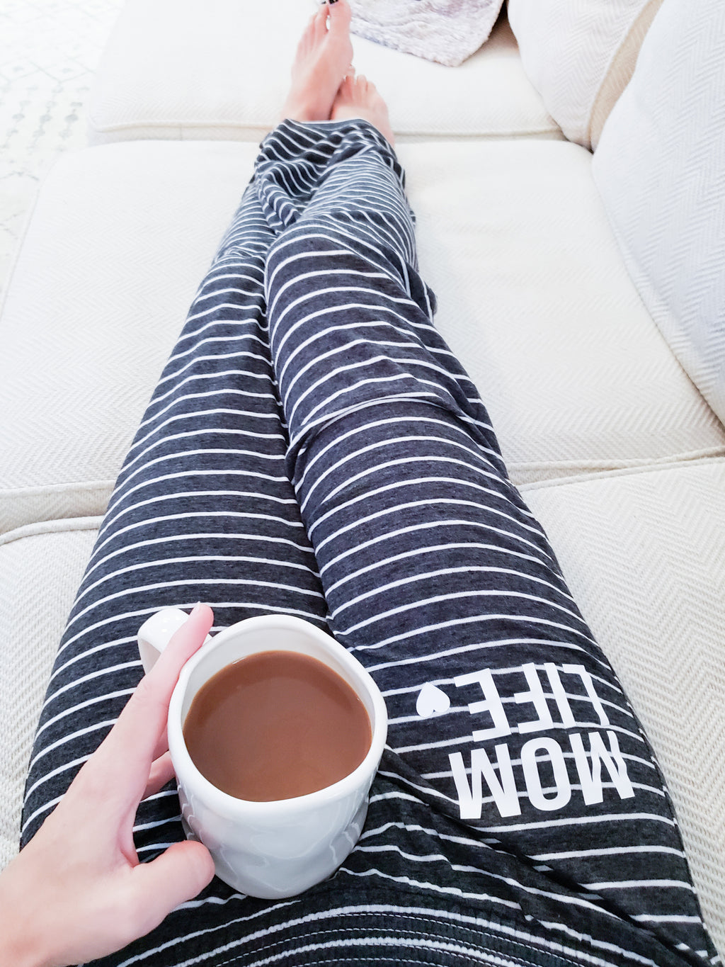 Mom Life Black And White Stripe Lounge Pants -