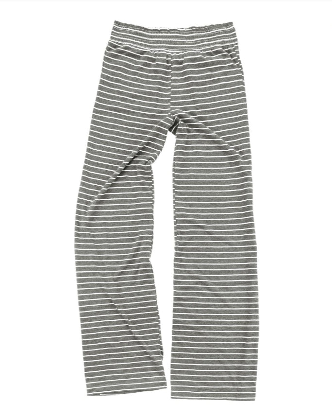 Grey and White Stripe Lounge Pants -