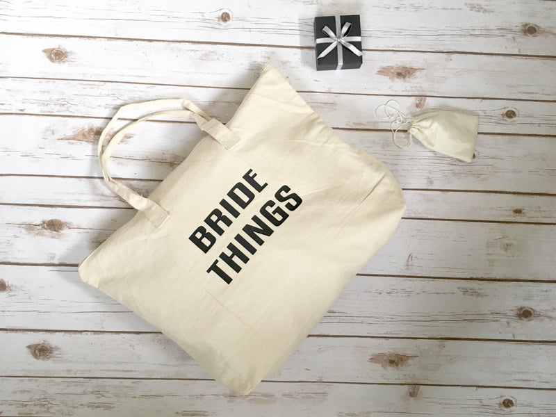 Bride Things Tote • Canvas tote bag with zipper closure -