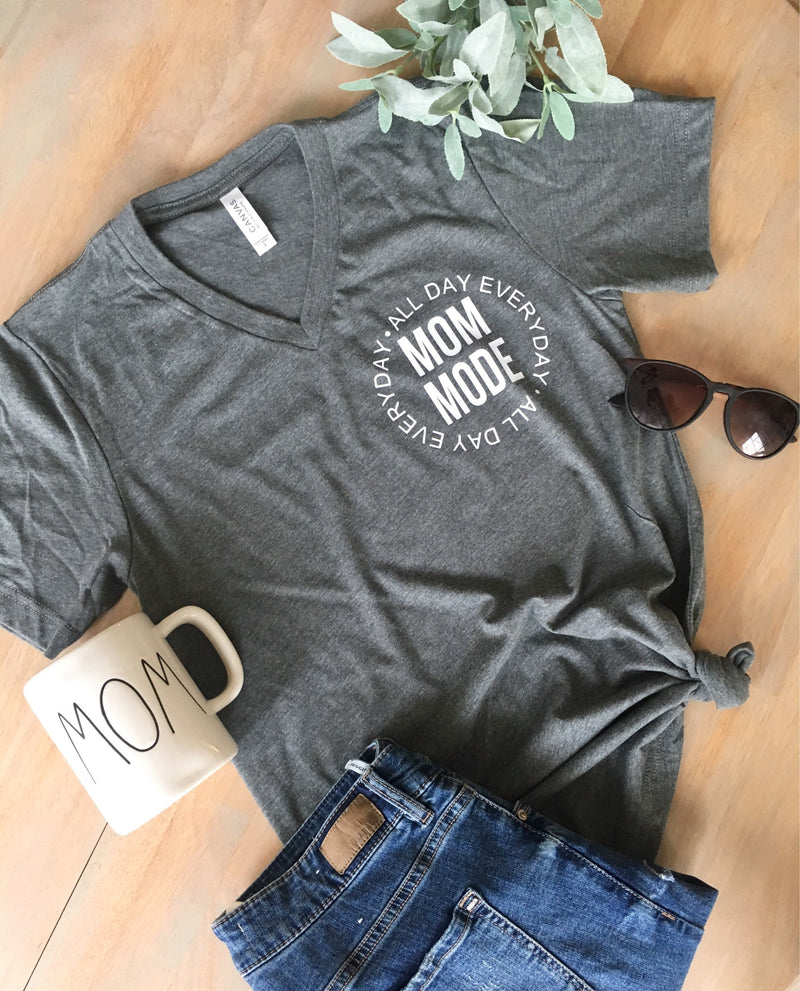 Mom Mode tee • Grey Unisex V-Neck -