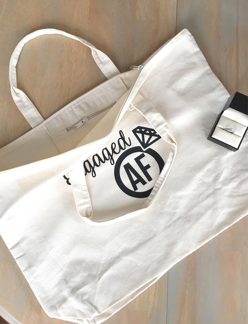 Engaged Af Tote Bag • Canvas tote bag with zipper closure -