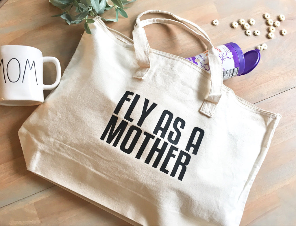 Fly As A Mother Tote Bag • Canvas zipper closure tote bag -
