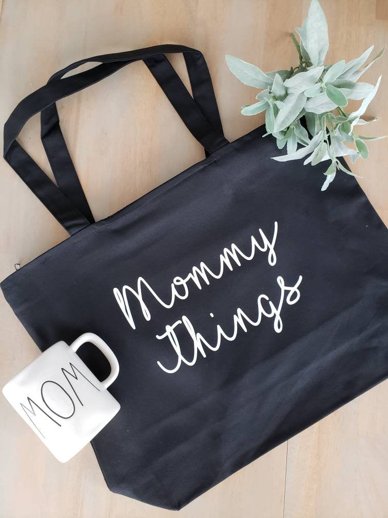 Mommy Things Bag • Mommy Things  Black Canvas Tote Bag -