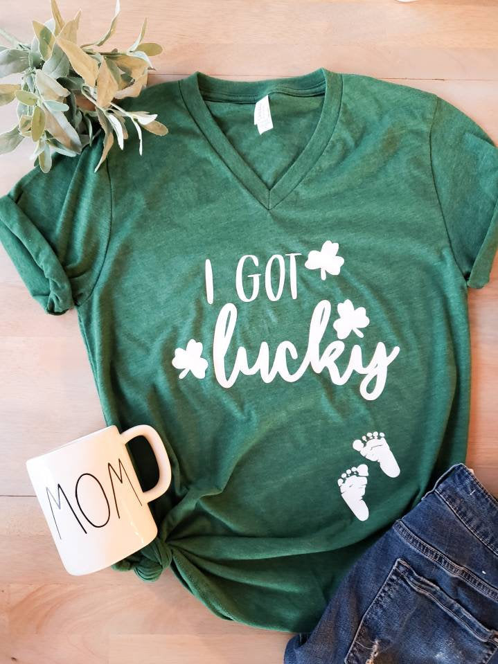 I got Lucky Pregnancy Shirt • St Patricks Day pregnancy shirt -