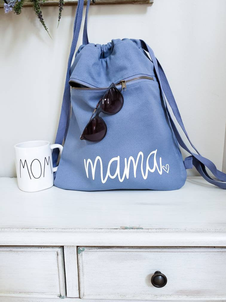 Mama Backpack • Mama canvas tote Bag -