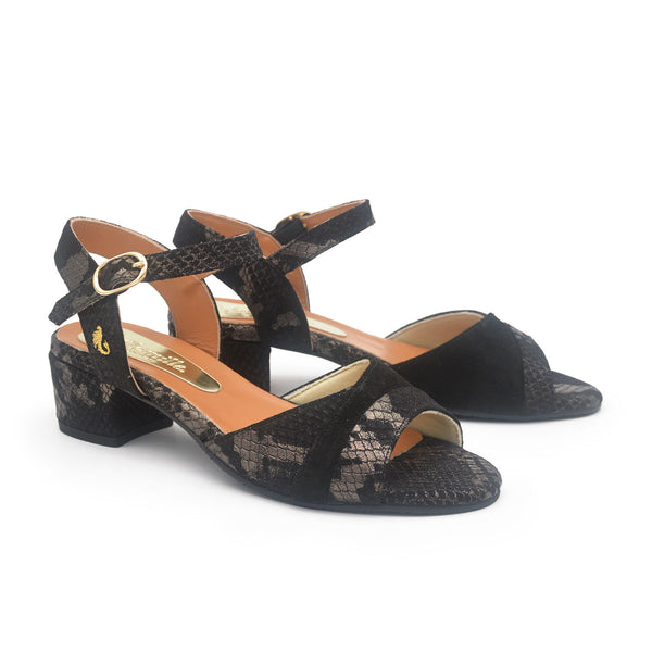 GRACE Black snake sandal