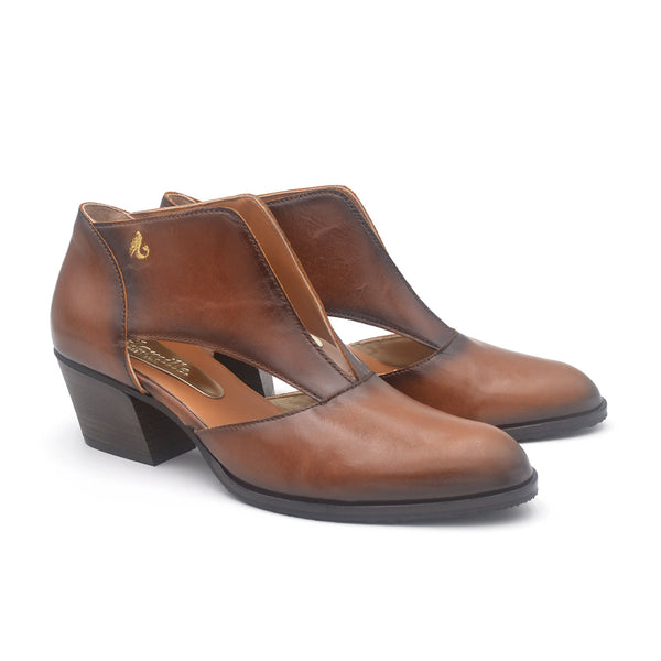 PATSY Brown leather cutout shoe