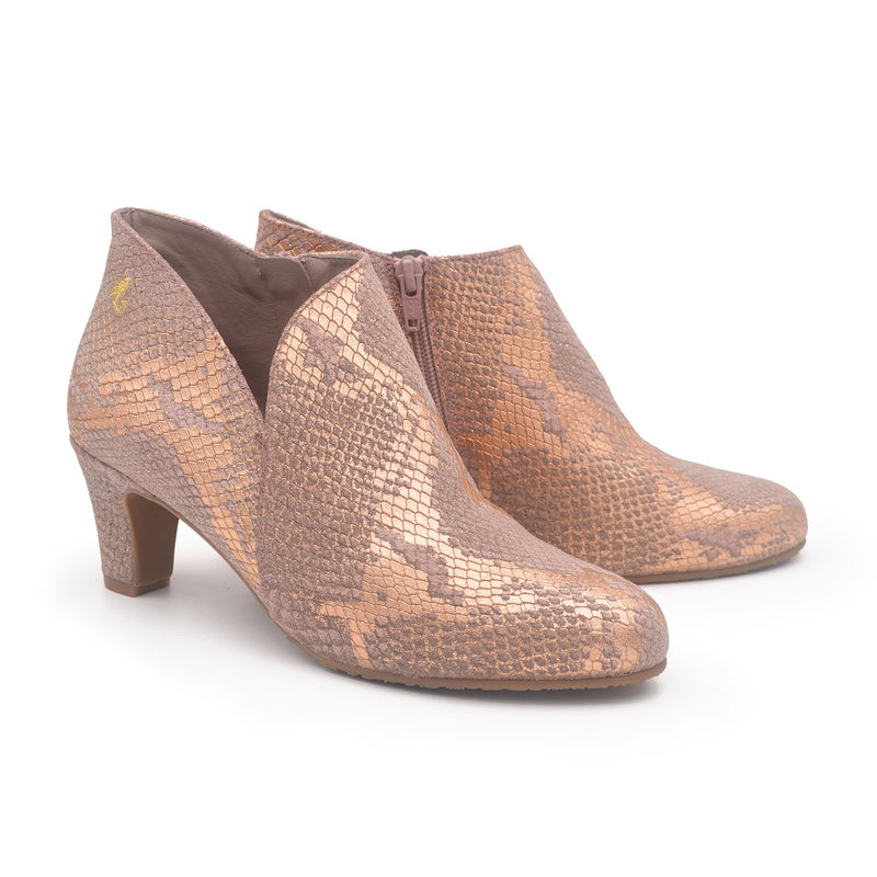 VICTORIA Nude snake bootie